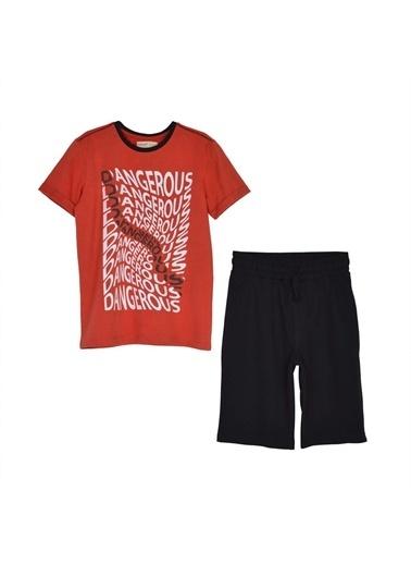 Silversun Kids Erkek Genç Baskılı Kısa Kollu Tişört Şort Takım !Kt 315841 Kırmızı